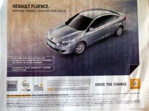 Pas une semaine sans une pub Renault dans le Hindu!
